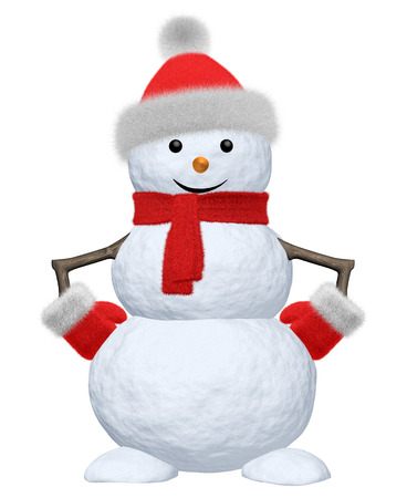 Cheerful snowman with red fluffy hat, scarf and mittens 3d illustration illustration