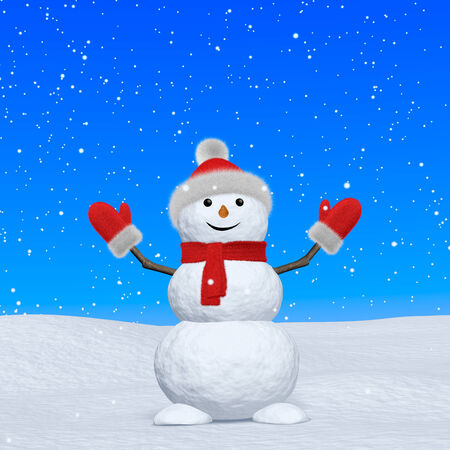 Cheerful snowman with red fluffy hat, scarf and mittens on snow looking up under blue sky and snowfall, 3d illustration illustration