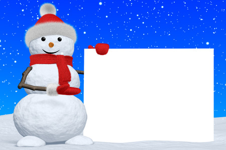 Cheerful snowman shows blank white board in red fluffy hat, scarf and mittens on snow under snowfall, 3d illustration illustration