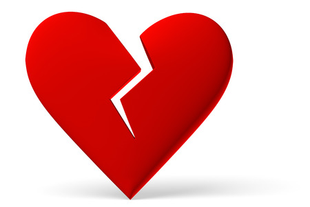 Red Broken Heart Symbol Isolated On White Background 3d