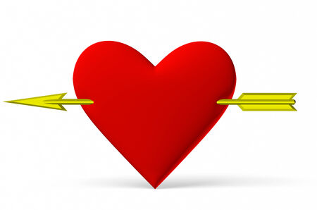 Red heart symbol with golden arrow isolated on white background, 3D illustration illustration