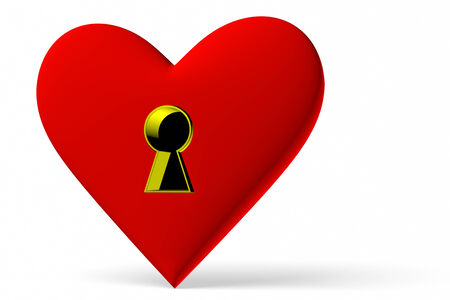 Red heart symbol with keyhole isolated on white background, 3D illustration, diagonal view illustration