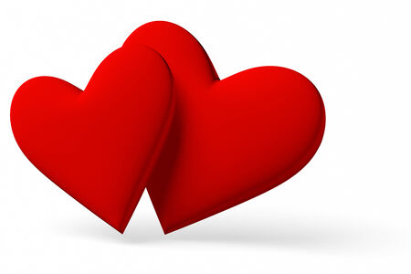 Couple of red hearts symbol with shadow isolated on white background, 3D illustration illustration