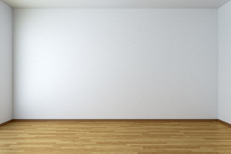 Empty room with white walls and wooden parquet floor Standard-Bild