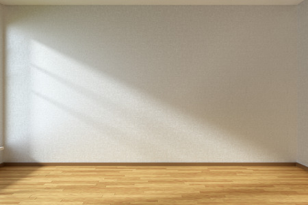 interior wallpaper: Empty room with white walls and wooden parquet floor under sun light through window Stock Photo