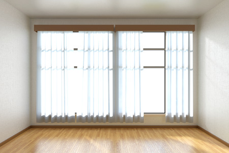 window view: Empty room with white walls, wooden parquet floor and window with white curtains front view