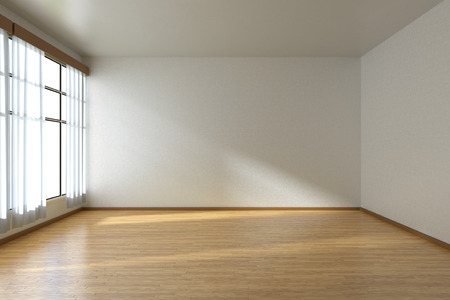 Empty room with white walls, wooden parquet floor and window with white curtains