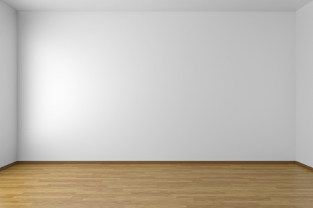 Empty white room with white walls and wooden parquet floor Standard-Bild