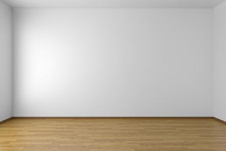 Lege witte ruimte met witte muren en houten parketvloer Stockfoto