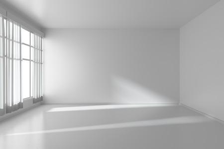 なく、テクスチャ、ホワイトの寄せ木張りの床や窓に白いカーテン、3 D イラストレーション白い平らな壁と白い空の部屋 写真素材