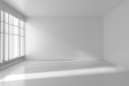 living room wall: White empty room with white flat walls without textures, white parquet floor and window with white curtains, 3D illustration Stock Photo
