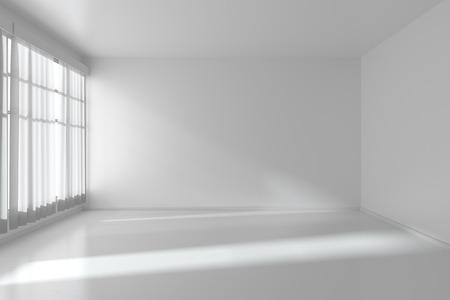 Witte lege ruimte met witte vlakke wanden zonder texturen, witte parketvloer en raam met witte gordijnen, 3D illustratie