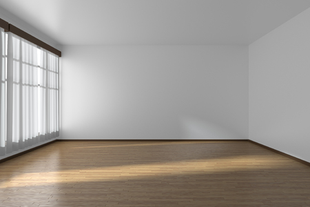 White empty room with white flat walls without textures, wooden parquet floor and window with white curtains, 3D illustration