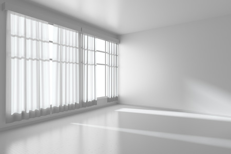 White empty room with white flat walls without textures, white parquet floor and window with white curtains diagonal view, 3D illustration