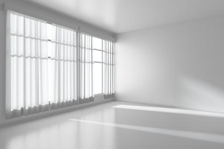 Witte lege ruimte met witte vlakke wanden zonder texturen, witte parketvloer en raam met witte gordijnen diagonaal bekeken, 3D illustratie
