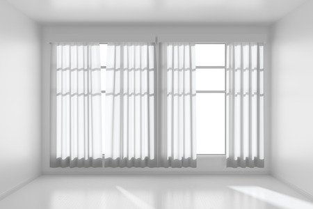 without window: White empty room with white flat walls without textures, white parquet floor and window with white curtains front view, 3D illustration