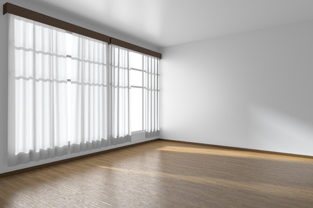 window view: White empty room with white flat walls without textures, wooden parquet floor and window with white curtains diagonal view, 3D illustration Stock Photo