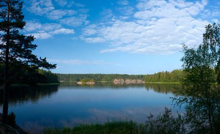 ladoga: Ladoga lake under blue sky panoramic view