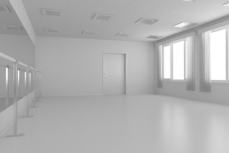 without window: White empty training dance-hall with white flat walls without textures, white parquet floor, white ceiling with lamps and window with white curtains, 3D illustration