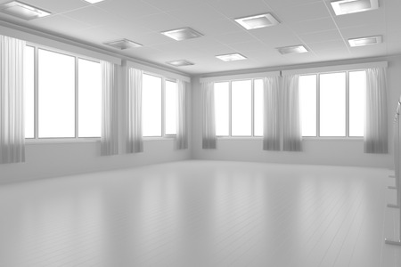 dance floor: White empty training dance-hall with white flat walls without textures, white parquet floor, white ceiling with lamps and window with white curtains, 3D illustration