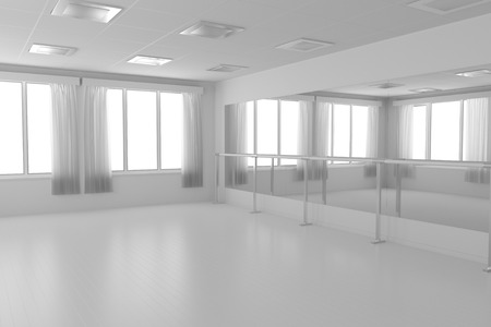 ballet: White empty training dance-hall with white flat walls without textures, white parquet floor, white ceiling with lamps and window with white curtains, 3D illustration