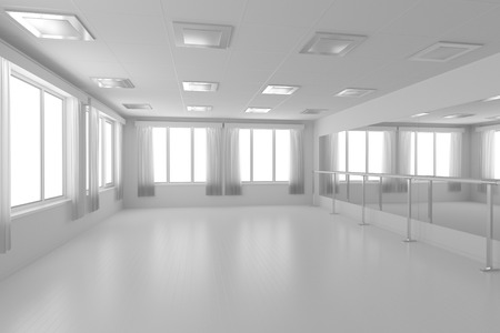 hall: White empty training dance-hall with white flat walls without textures, white parquet floor, white ceiling with lamps and window with white curtains, 3D illustration