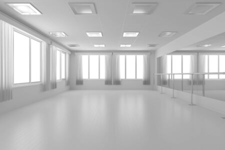 barre: White empty training dance-hall with white flat walls without textures, white parquet floor, white ceiling with lamps and window with white curtains, 3D illustration