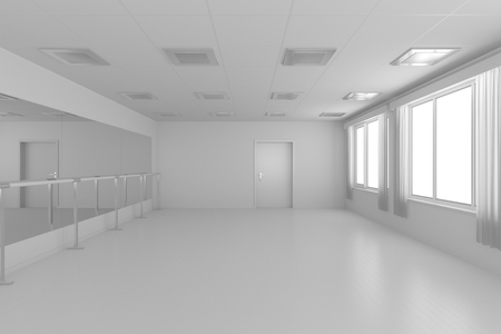 parquet floor: White empty training dance-hall with white flat walls without textures, white parquet floor, white ceiling with lamps and window with white curtains, 3D illustration