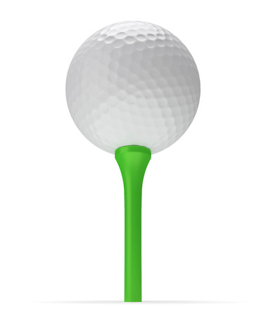 minigolf: Golf ball on tee with shadow 3D illustration isolated on white background, view from below Stock Photo