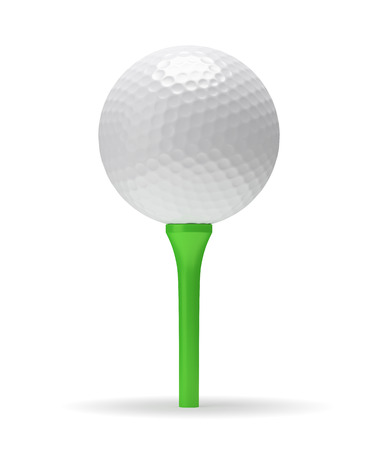 minigolf: Golf ball on green tee with shadow 3D illustration isolated on white background