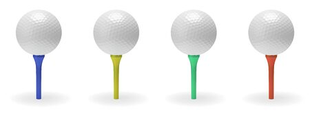 minigolf: Golf ball on tee collection 3D illustration isolated on white background