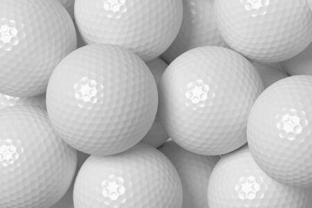 minigolf: Heap of white golf balls background, 3D illustration
