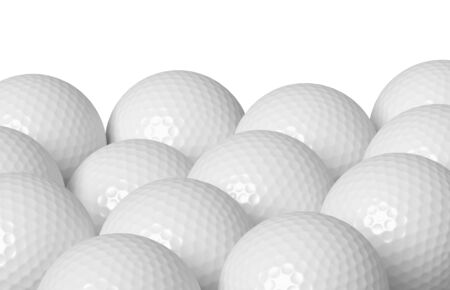 minigolf: Heap of white golf balls isolated on white background, 3D illustration