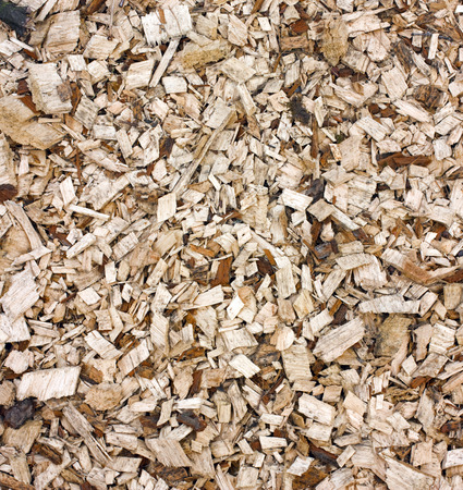 Heap of dirty woodchips with bark natural background Stock Photo