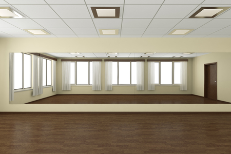 parquet floor: Empty training dance-hall with yellow walls, dark wooden parquet floor, white ceiling with lamps and window with white curtains, 3D illustration