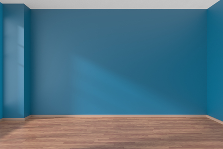 Empty room with blue flat smooth walls and  wooden parquet floor under sun light through window, 3D illustration 版權商用圖片