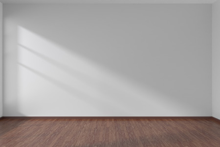 Empty room with white flat smooth walls and dark wooden parquet floor under sun light through window, 3D illustration