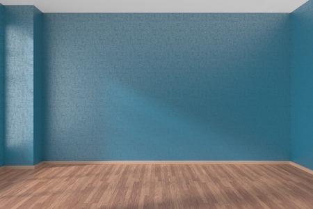 ブルーの壁や窓、3 D イラストレーションから日光の下で木製の寄せ木張りの床と空の部屋