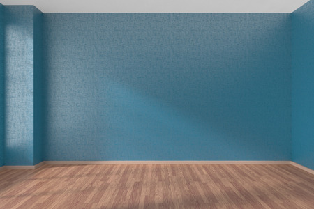 Empty room with blue walls and wooden parquet floor under sunlight through window, 3D illustration Imagens - 42347602