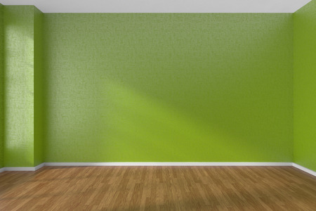 parquet floor: Empty room with green walls and wooden parquet floor under sunlight through window, 3D illustration