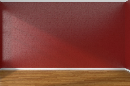 parquet floor: Empty room with red walls and wooden parquet floor under sun light through window, 3D illustration Stock Photo
