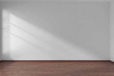 Empty room with white walls and dark wooden parquet floor under sun light through window, 3D illustration