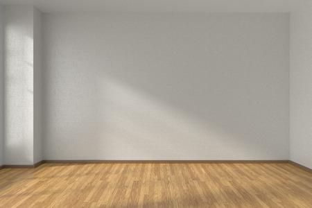 Empty room with white walls and wooden parquet floor under sun light through window, 3D illustration Standard-Bild