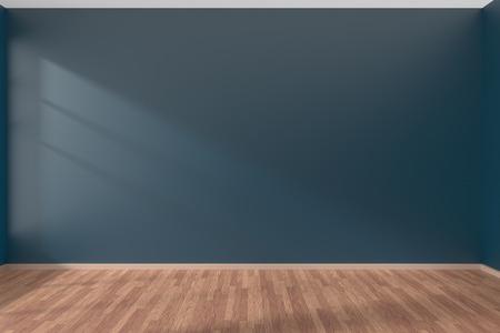 濃いブルーのフラットな滑らかな壁と太陽ウィンドウ、3 D イラストレーションの光の下で木製の寄せ木張りの床と空の部屋