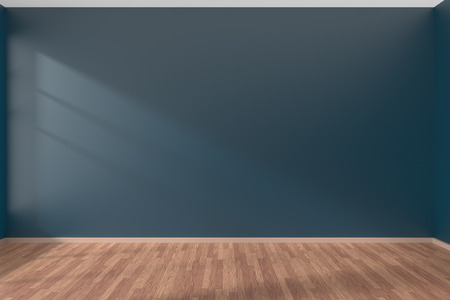 living room window: Empty room with dark blue flat smooth walls and wooden parquet floor under sun light through window, 3D illustration Stock Photo
