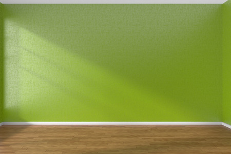 parquet floor: Empty room with green walls and wooden parquet floor under sun light through window, 3D illustration