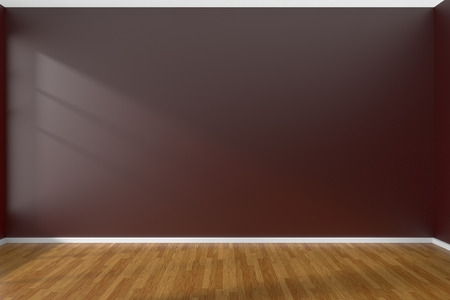 flooring design: Empty room with dark red flat smooth walls and wooden parquet floor under sun light through window, 3D illustration