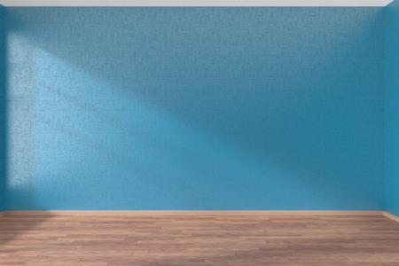 Lege ruimte met blauwe muren en houten parketvloer onder zonlicht door het raam, 3D illustratie