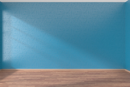 Empty room with blue walls and wooden parquet floor under sun light through window, 3D illustration