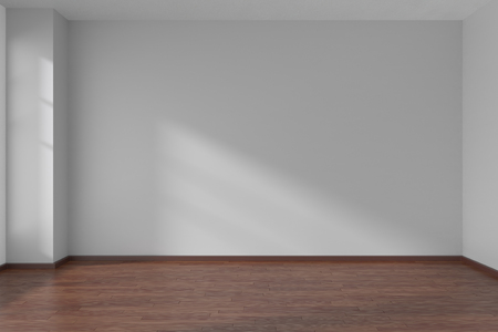 白い滑らかな平面壁と太陽光ウィンドウ、3 D イラストレーションの下で暗い木製の寄せ木張りの床と空の部屋 写真素材